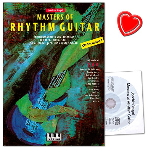 Masters Of Rhythm Guitar von Joachim Vogel - Elvis, Chuck Berry, Jimi Hendrix, Jimmy Page ... - Notenbuch mit bunter herzförmiger Notenklammer