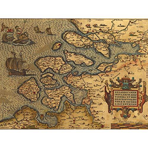 Wee Blue Coo Kaart Oude Vintage Nederland Nederlands-Brabant Noordzee Grote Ingelijste Poster Print