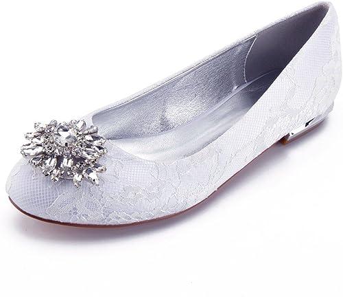 Zxstz Femmes Chaussures Robe Nuptiale Dentelle Satin Bas Talon Closed Court chaussures Party Dance Chaussures de Mariage Ronde Chaussures de tête