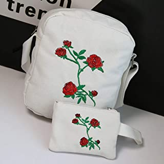 Wultia - Bags for Women 3 Sets Women Girls Embroidery Rose School Bag Travel Backpack Bag Shoulder Bag Bolsa Feminina White