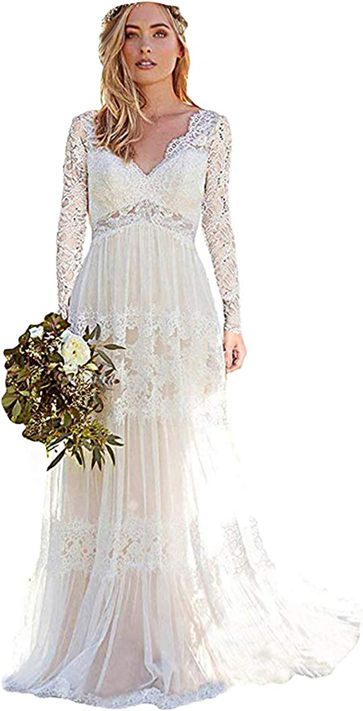 人気 おすすめ Bohemian Wedding Dresses 人気ブランド V-Neck Appliques Lace for Gown