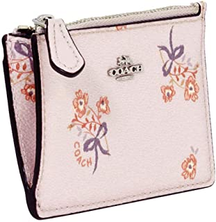 Coach Mini Skinny ID Case With Floral Bow Print in Ice Pink/Silver