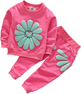 Toddler Baby Girls Sunflower Clothes Set Long Sleeve Top and Pants 2pcs Outfits Fall Clothes