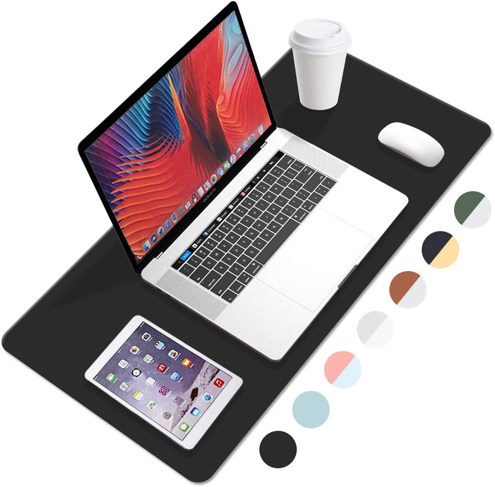 FANMI PU Leather Desk Pad with Suede Base, Laptop Desk Table Protector Writing Mat, Waterproof Desk Writing Pad for Office and Home, Dual Sided Desk Pad (35.4