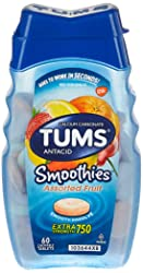 TUMS Smoothies Extra Strength Assorted Fruit Antacid Chewable Tablets 60 Count