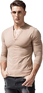 Mens Long Sleeve T Shirts Slim Fit Deep V Neck Athletic Casual