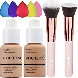 Phoera Foundation 104 and 105,Hilareco Full Coverage Foundation Set, Foundation Brush Powder Brush,5 Sponge Makeup,Flawless 30ml Natural Matte Oil Control (Buff Beige #104)(Sand #105)