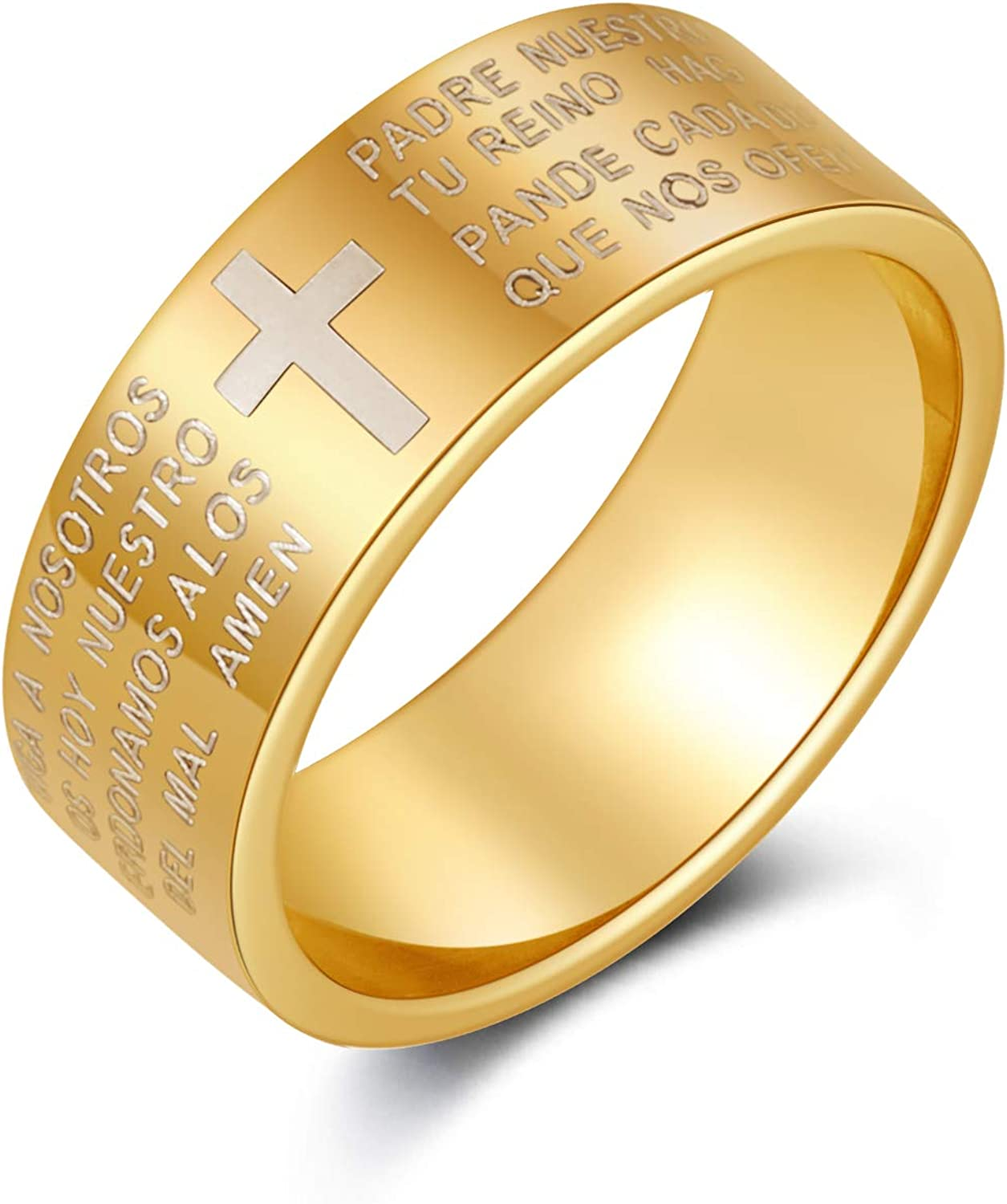 8mm Men's Stainless Steel Bible Scripture Christian Lord's Prayer Cross Ring Wedding Ring Laser Engraved 4 Colors Available