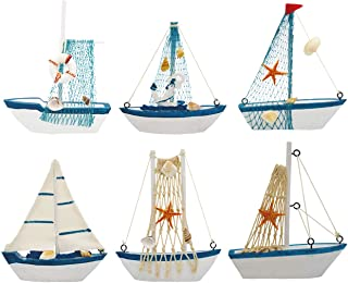 Wooden Sailing Boat, Wisonique 6 Pcs Mini Sailing Boat Model, Vintage Nautical Handmade Wooden Sailboat Decoration, Mini Decorative Sailboat Model for Home Ornament