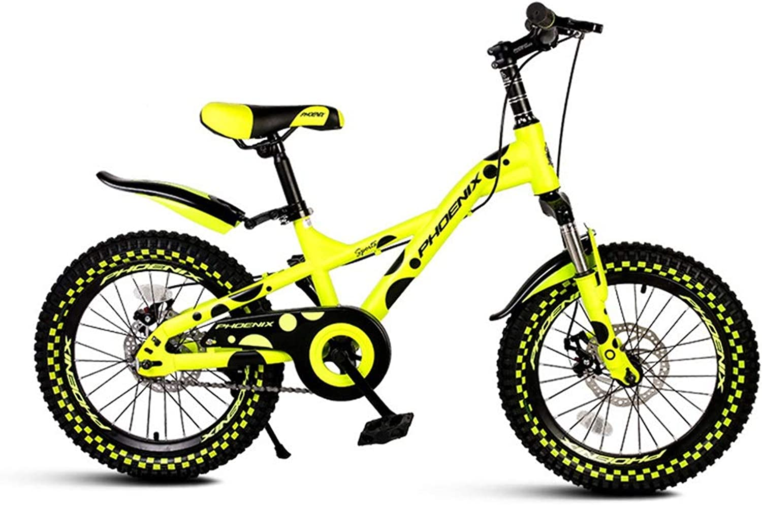 Kids' Bikes Bicycle Single Speed Mountain Bike Shock Absorber boy Girl Bicycle Stroller Student Bicycle, 18 inch (color   Yellow, Size   18inches)