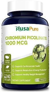 Chromium Picolinate 1000mcg 240 Veggie Capsules (Non-GMO & Gluten Free) - Support Weight Management, Cardiovascular Functi...