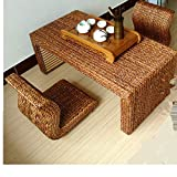 HUAWELL Japanese Style Handcrafted Eco-Friendly Breathable Padded Knitted Tea Table + 2 Seat Floor Cushions Set,Hand Woven Tatami Coffee Table and Floor Cushion (Chair)