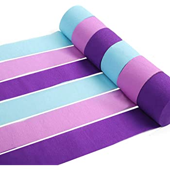 RUBFAC 12 Rolls Crepe Paper Streamers Mermaid Colors, Lavender, Purple and Baby Blue for Mermaid Party Decorations, Birthday Supplies and Baby Bridal Shower