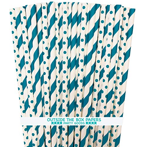 Teal and White Paper Drinking Straws - Stripe Polka Dot - 100 Pack - Outside the Box Papers Brand