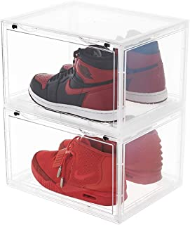 LifestyleEssential - Drop Side Shoe Box - Shoe Storage Container - Acrylic Sneaker Box - Shoe Bin - Foldable - Stackable - Clear - for Men Women - 2 Boxes Each Package