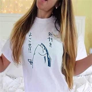 GUAngqi Japanese Letter Print Tee HALAJUKU Funny O-Neck Short Sleeve T-shirt for Women,White fish Japanese,L