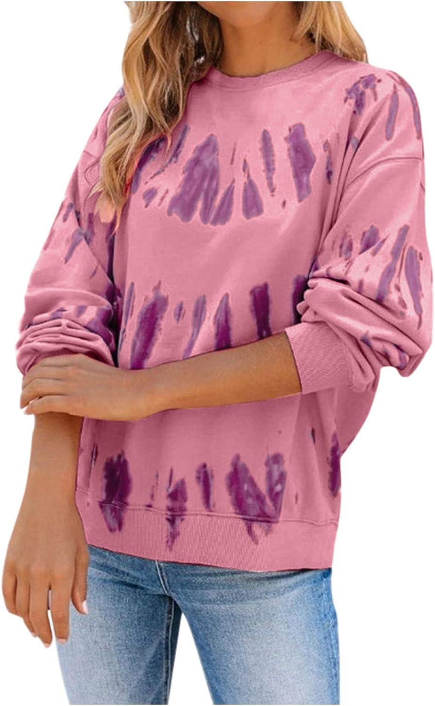 Lazapa Tie OFFicial Dye Super sale period limited Sweatshirt for Women Sleeve Long Pullove Crewneck