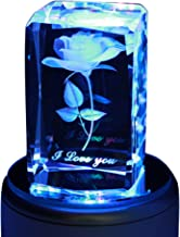 LIWUYOU Crystal Rose Music Box Personalized Custom Text 3D Colorful Romantic, Music Base