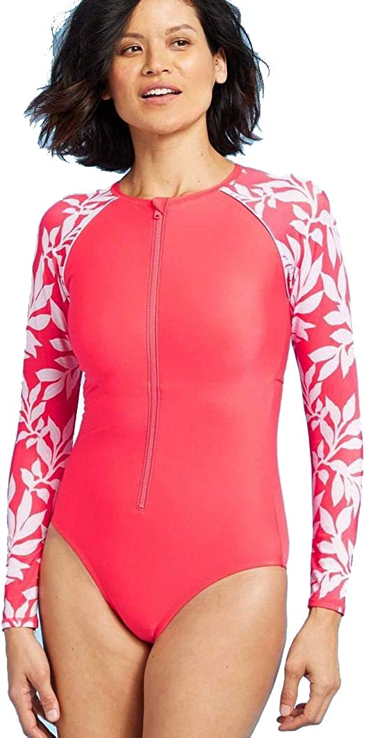 All in Motion Women's Long Sleeve One Piece Rashguard (Red Floral, M)