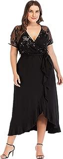 Women's Plus Size Short Sleeve Wrap V Neck Lace Belted Empire Waist Irregular Ruffle Casual Long Maxi Dress