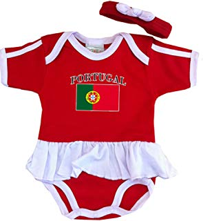 PAM GM Portugal Baby Girl Soccer Ruffle Bodysuit