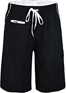 Nonwe Men's Beachwear Swim Trunks Quick Dry Zipper Pockets with Lining