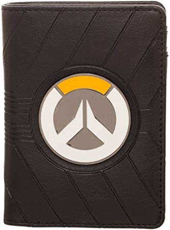 5. Bioworld Overwatch Logo Emboss Vertical Bi-Fold Wallet