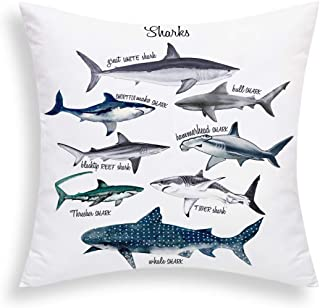 Yastouay Sharks Pillow Cover Sealife Throw Pillow Cover Marine Theme Decorative Cushion Cover 18 X 18 Inch for Sofa Couch ...