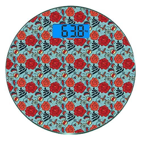 Digitale Präzisionswaage für das Körpergewicht Runde Blumen Ultra dünne ausgeglichenes Glas-Badezimmerwaage-genaue Gewichts-Maße,Farn Blätter Blütenblätter Venus Fliegenfalle blühende Mutter Erde Schö