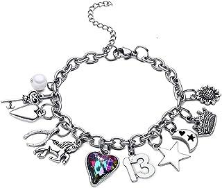 M MOOHAM 13th Birthday Gifts for Girls Bracelet, 13 Year Old Girl Gifts Heart Charm Bracelets for Daughter Granddaughter C...
