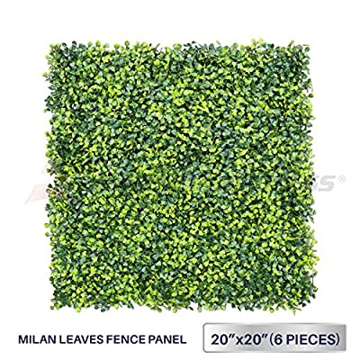 """Windscreen4less Artificial Faux Ivy Leaf Decorative Fence Screen 20'' x 20"""" Boxwood/Milan Leaves Fence Patio Panel 6 Pcs"""