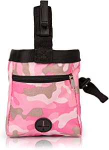 Dog Treat Pouch Training Bag with Clip, Outdoor Training Dog Snack Reward Waist Pocket Pet Feed Training Pouch Pink/Green
