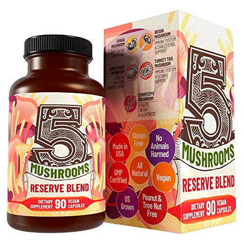 5 Mushrooms Reserve Blend - Lions Mane, Cordyceps, Reishi, Chaga, Turkey Tail Mushroom Supplement