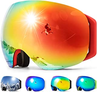 COPOZZ S2 Ski Goggles, Magnetic Snow Snowboard Goggles - Helmet Compatible Over Glasses OTG Design Non-Slip Strap UV400 Protection for Men and Women