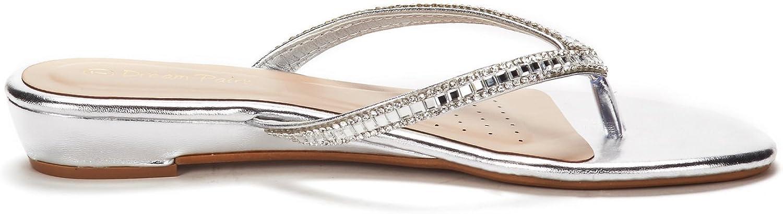 DREAM PAIRS Womens Jewel Flip-Flop Sandals