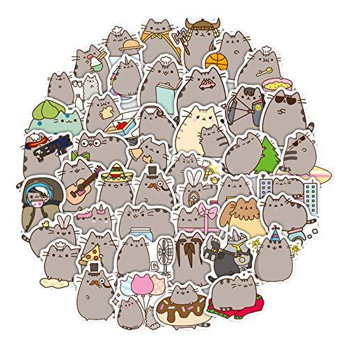 WWJIE Fat Set Cat Stickers Computer Trolley Pegatinas de Equipaje a Prueba de Agua y sin Pegamento Pegatinas de Taza de Agua para portátiles 100 Hojas
