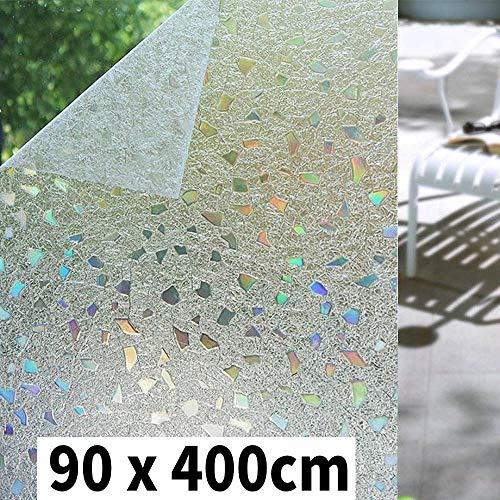 Shackcom 3D Fensterfolie Selbsthaftend Blickdicht Sichtschutz Sichtschutzfolie 90x400 cm Statisch Haftend Anti-UV Dekorfolie für Bad Küche Büro Zuhause-Farbeffekt unter Licht S170