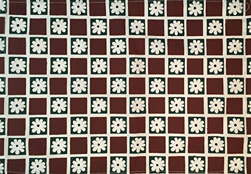 Manual Woodworkers Burgundy Daisy Checkerboard Stenciled 100% Cotton Kitchen Table Placemats 13x19 Set of 4 Green
