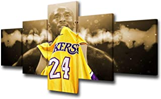 TUMOVO 5 Panel Wall Art American Basketball Poster on Canvas Framed Art Sport Paintings Home Decor Kobe Bryant Modern Artw...