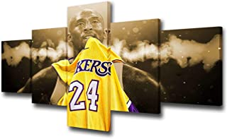 5 Panel Wall Art American Basketball Poster on Canvas Framed Art NBA Sport Paintings Home Decor Kobe Bryant Modern Artwork Picture Giclee Print for Modern Classroom Home Decoration - 50''Wx24''H