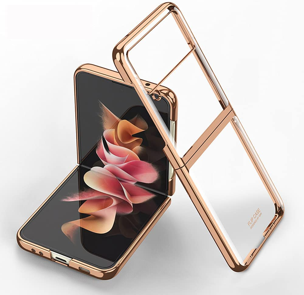 DOOTOO for Samsung Galaxy Z Flip 3 Case Luxury Transparent Plating PC Crystal Cover Finish Anti-Scratch Shookproof Protection Case for Samsung Galaxy Z Flip 3 5G (Clear-Gold)