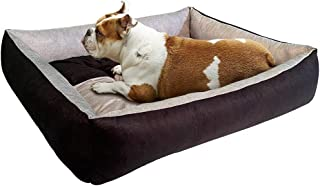 Mellifluous Reversible Super Soft Velvet Rectangular Cat Dog Pet Bed (LxWxH 66x53x15cm) (Small, Grey-Black)