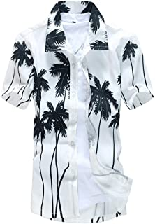 Beach Clothing Men's Light Weight Button Shirt Hippie Beach Yoga Tops Print Palm Trees Blouses Holiday Clothes
