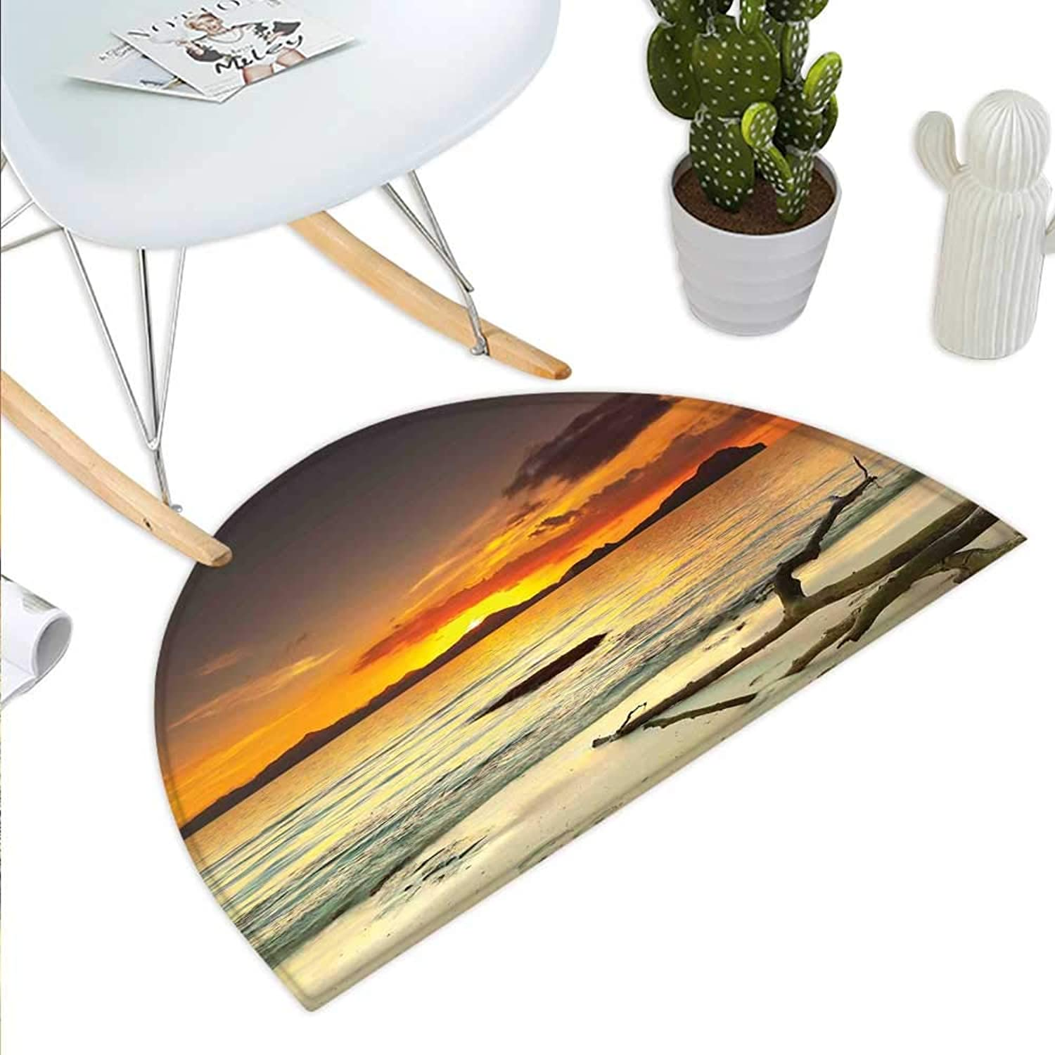 Nature Semicircle Doormat Sunset Over The Island Dry Tree Distant Hills Sandy Shoreline Vacation Destination Halfmoon doormats H 39.3  xD 59  Mauve Yellow
