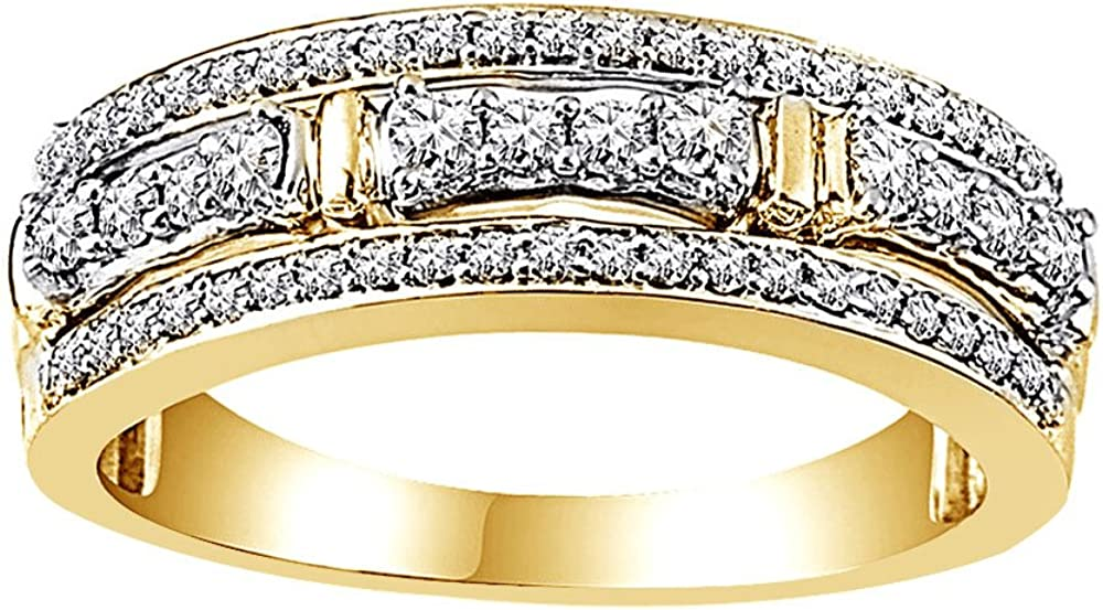 AFFY White Natural Diamond Anniversary Ring in 10k Solid Gold (0.5 Ct)