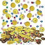 400 Piezas Tesoro de Gemas de Plástico y Monedas de Oro de Pirata Piedras Preciosas de Piratas Joyas Acrílicas para Tesoro de Juego de Temática de Pirata de Niños Fiesta de Caza Halloween