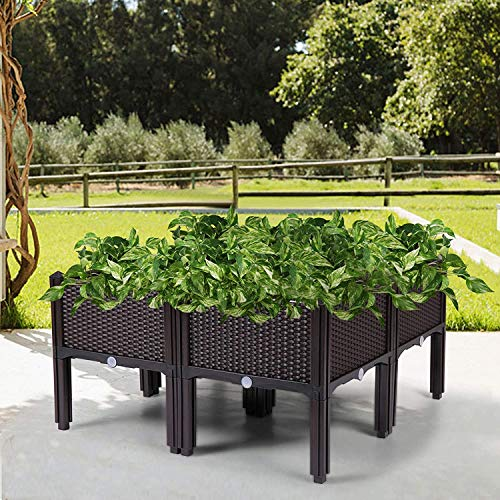 Catrimown Set of 4 Raised Garden Bed Kits, Plastic Elevated Garden beds with Brackets for Flowers Vegetables, All Weather Planter Box Container for Backyard Garden Patio (4)