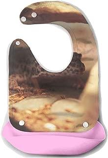 Waterproof Baby Super Bib Feeding Roll-up Bibs Gecko Leopard Lizard Silicone Bib For Babies&Toddlers