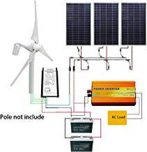 ECO LLC 800W Wind-Solar Generator Kit: 400W Wind Turbine and 3PCS 140W Solar Panels and1000W 12V-110V Inverter and 20A Hybrid Controller and 2PCS 12V Batteries