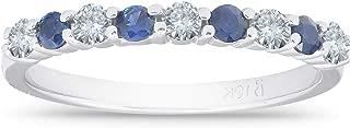 1/2CT Blue Sapphire & Diamond Wedding Ring 10K White Gold